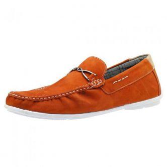 Mocassim dockside masculino de couro Atron Shoes laranja 571