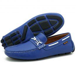 Mocassim dockside masculino em couro azul 3460