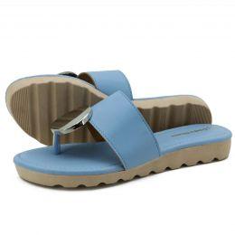 Sanália feminina azul em couro legítimo Atron Shoes 01
