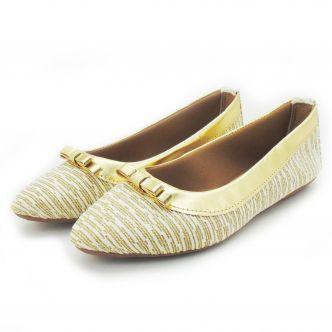 Sandália feminina com lacinho e listras douradas