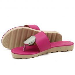 Sandália feminina em couro legítimo na cor pink
