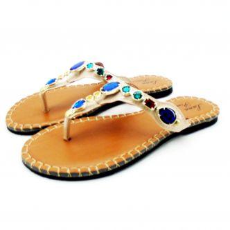 Sandália feminina rasteirinha LP100 com pedras coloridas