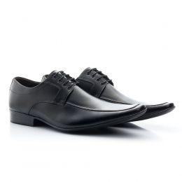 Sapato de amarrar bico fino de couro na cor preta 400