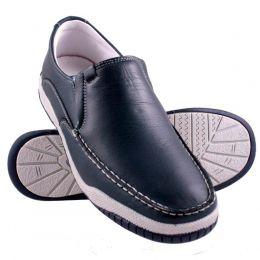 Sapato masculino casual em couro legítimo na cor chumbo 6000