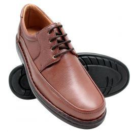 Sapato masculino de amarrar conforto anti-stress em couro legítimo na cor chocolate