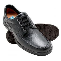 Sapato masculino em couro legítimo na cor preta super conforto 2002