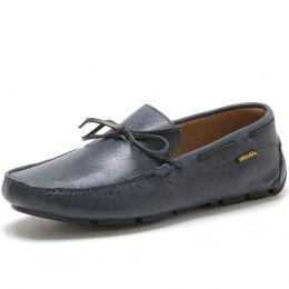 Sapato mocassim dockside masculino em couro na cor azul marinho