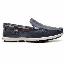 Sapato mocassim infantil azul marinho e cinza em couro