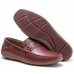 Sapato Mocassim Prayano ART NOBRE masculino em couro na cor bordô 3350