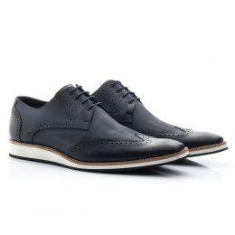 Sapato social azul marinho em couro legítimo 516