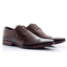 Sapato social café mouro masculino em couro legítimo