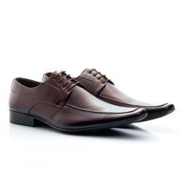 Sapato social marrom com cadarço bico fino