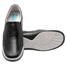 Sapato social masculino de couro na cor preta anti-stress moderno 6000