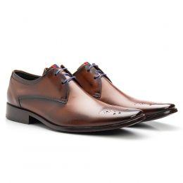 Sapato social masculino em couro legítimo bovino de amarrar alaranjado 659
