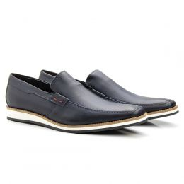 Sapato social tiguan azul marinho em couro legítimo 525