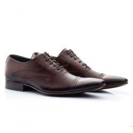 Sapato sola de couro bico fino 341 café Atron Shoes