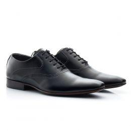 Sapato social preto com cadarço em couro 340