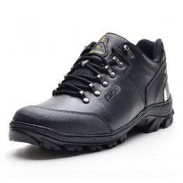 Tênis adventure casual em couro na cor preta Atron Shoes 269