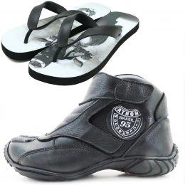 Tênis bota motociclista couro preto unissex 270 com chinela estampada Atron Shoes