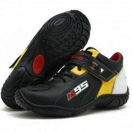 Tênis Motociclista AS95 Em Couro Legitimo nas cores preto amarelo e branco 403