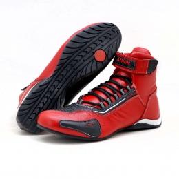 Tênis motociclista cano alto em couro legítimo nas cores vermelho e preto 311
