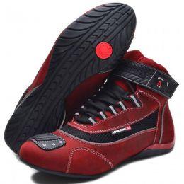 Tênis Motociclista com refletivo cano alto na cor vermelha 310