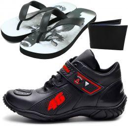 Tênis motociclista Valentino Rossi preto e vermelho com chinelo personalizado Atron Shoes