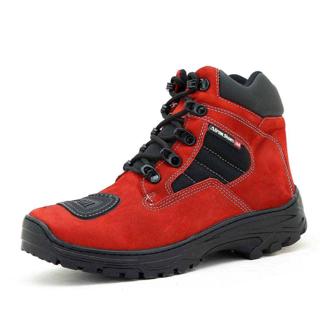 Bota adventure trekking motociclista Atron Shoes na cor Vermelha 245