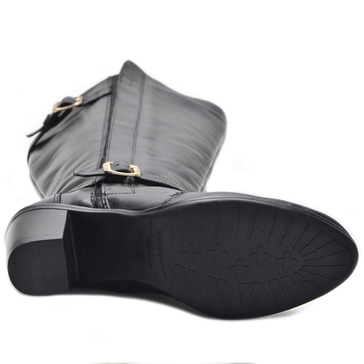 Bota cano alto em couro legítimo na cor preta 9206
