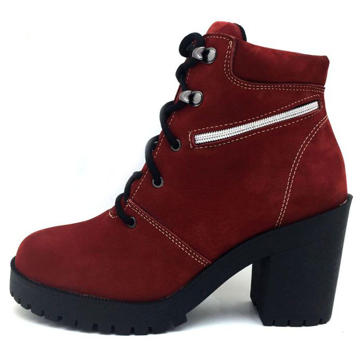 b142ae4a4 Coturno feminino de cano curto em couro legítimo na cor vermelha 9405