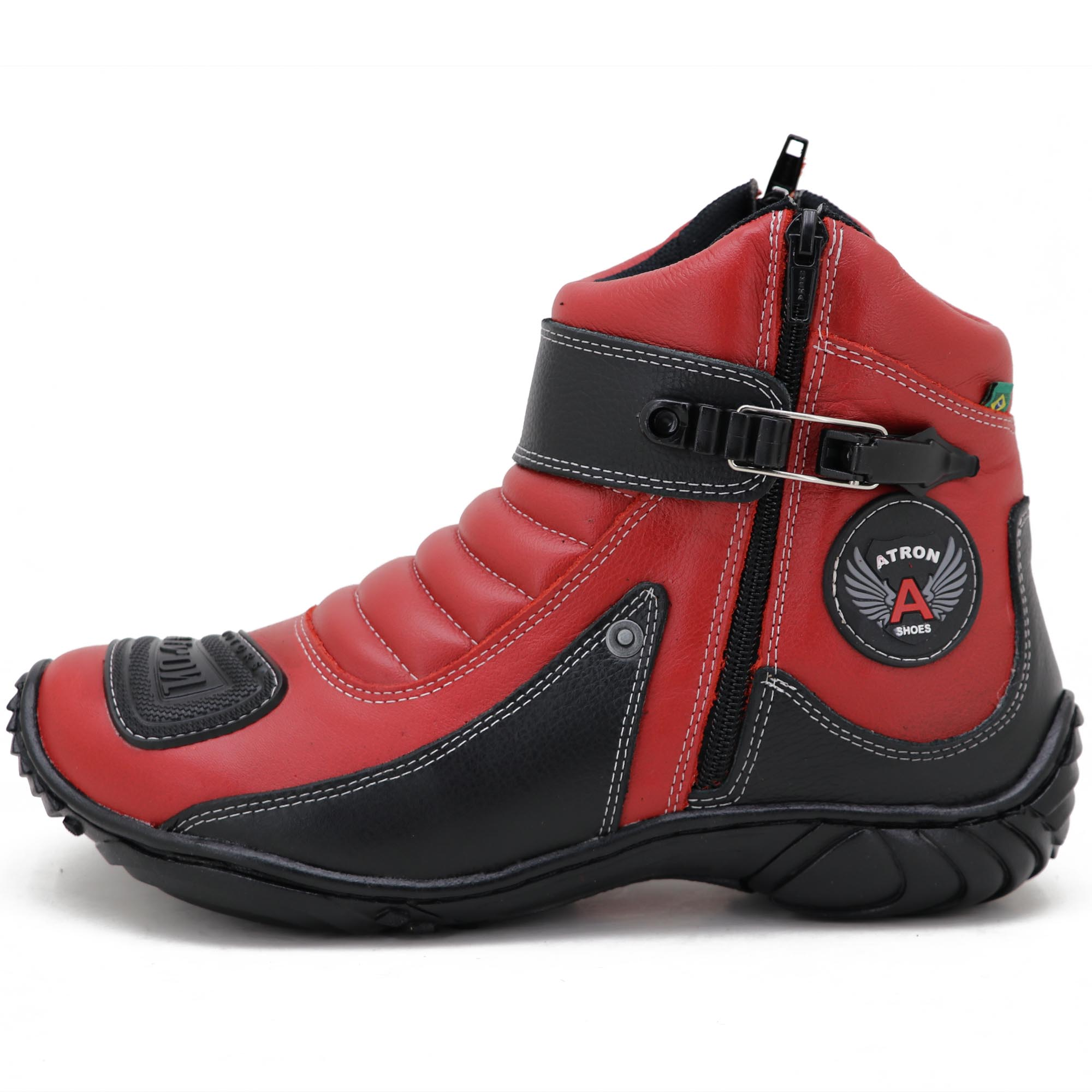 Bota de motociclista em couro legítimo nas cores vermelho e preto 304