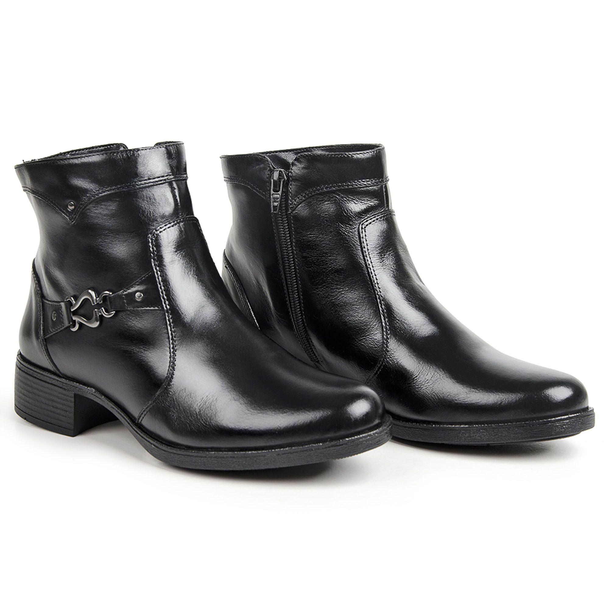 Bota feminina de couro legítimo confort preto super macio 1001