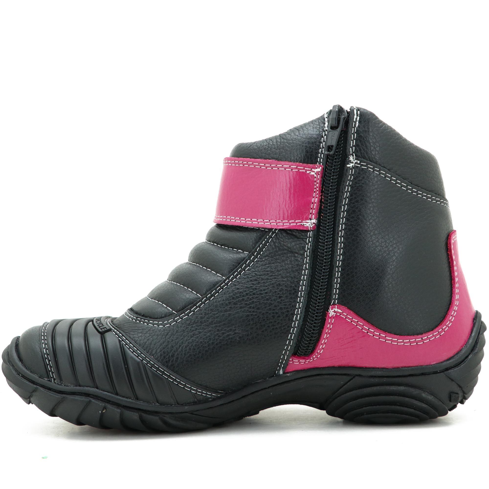 Bota feminina motociclista esportiva pink e preto em couro legítimo 271 com chinelo - GRATIS UMA CARTEIRA