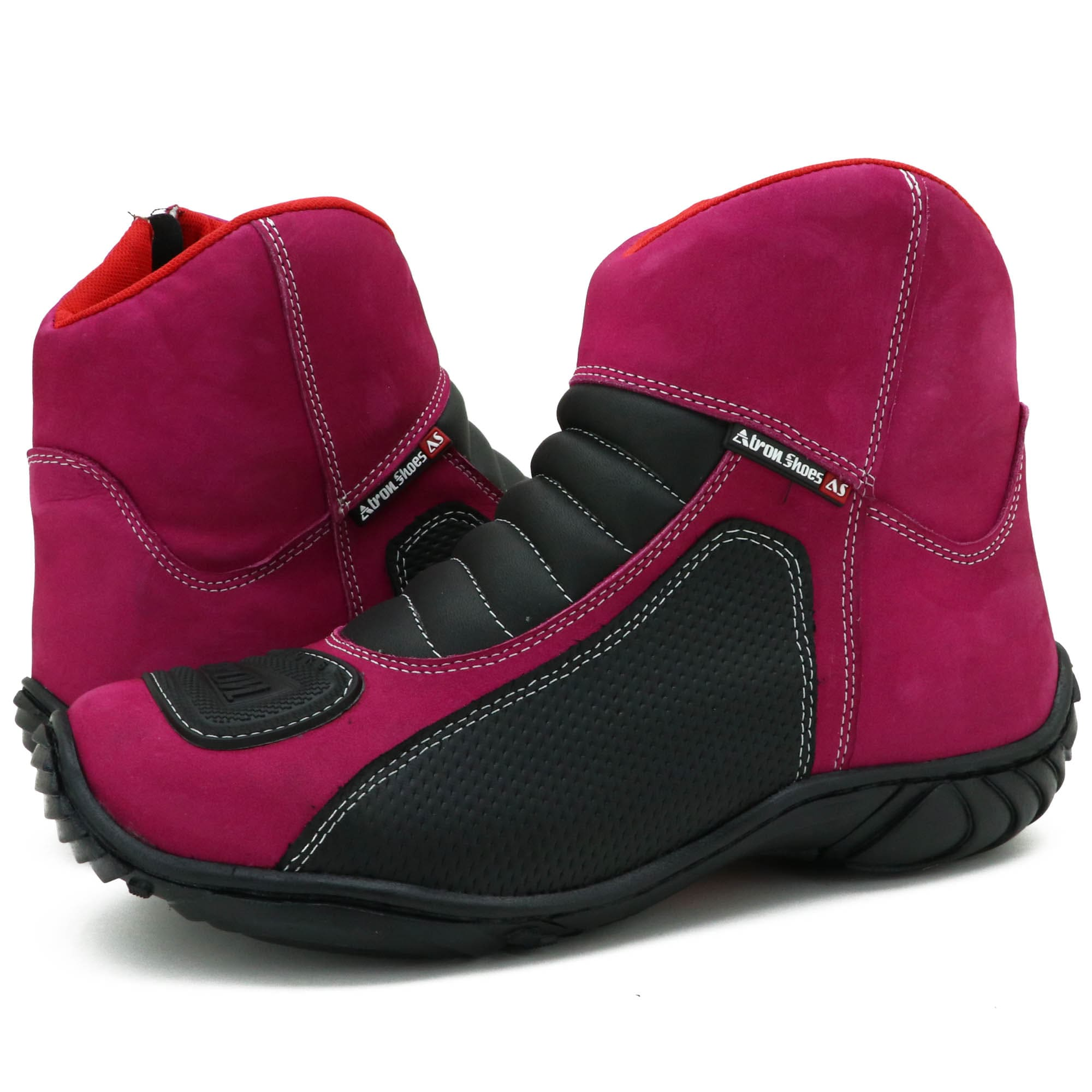 Bota feminina motociclista pink de couro legítimo semi impermeável 305