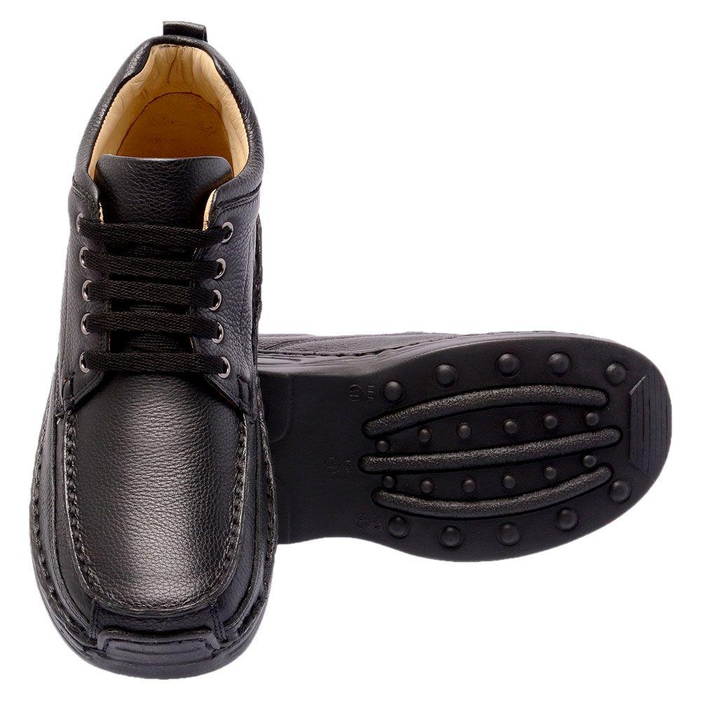 Bota masculina anti-stress em couro legítimo na cor preta