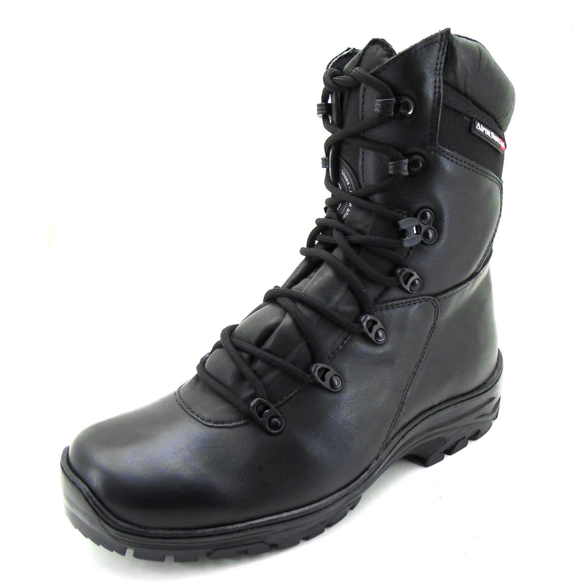 Bota militar de amarrar de couro legítimo na cor preta 280