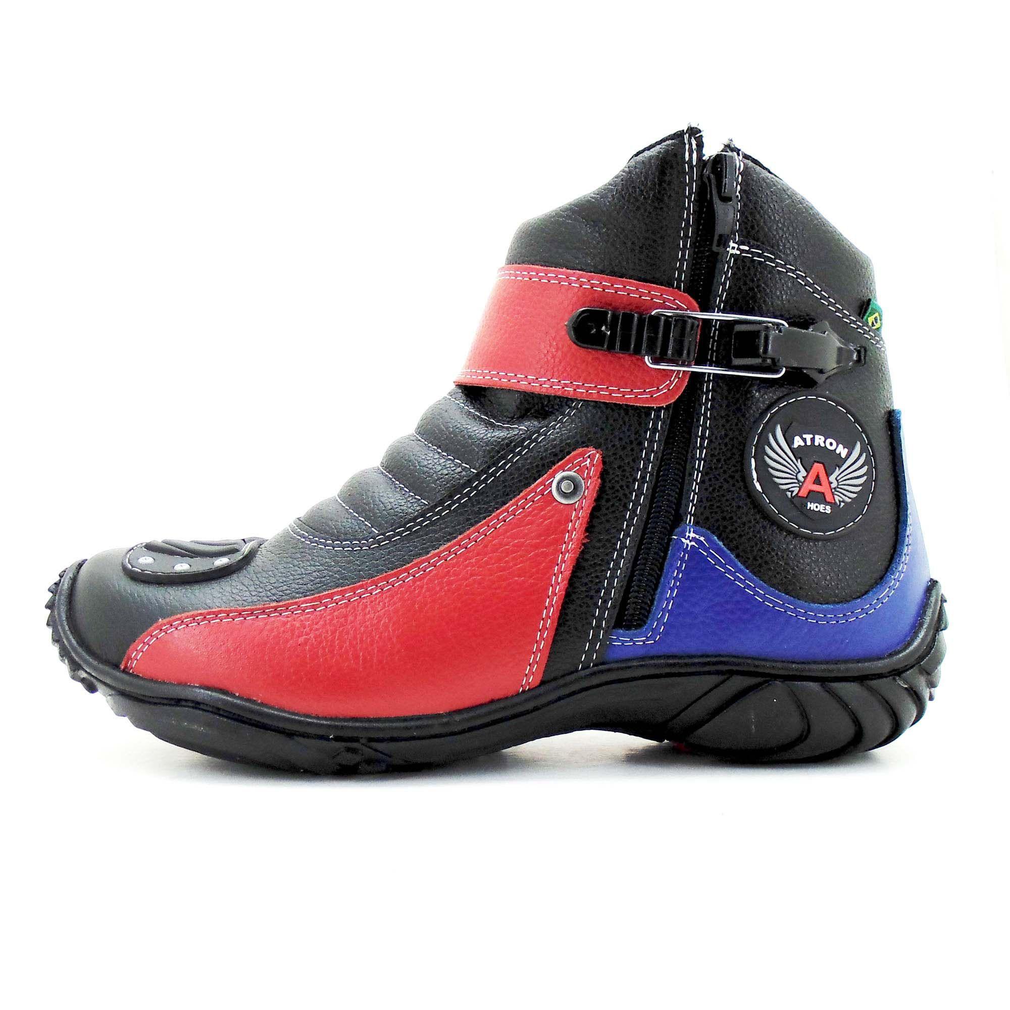 Bota motociclista 271 preto vermelho e azul