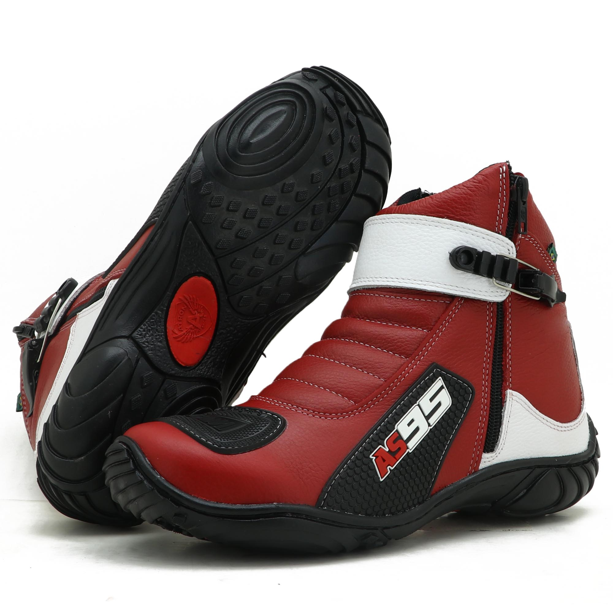 Bota Motociclista AS95 De couro legítimo nas cores vermelho com branco 095