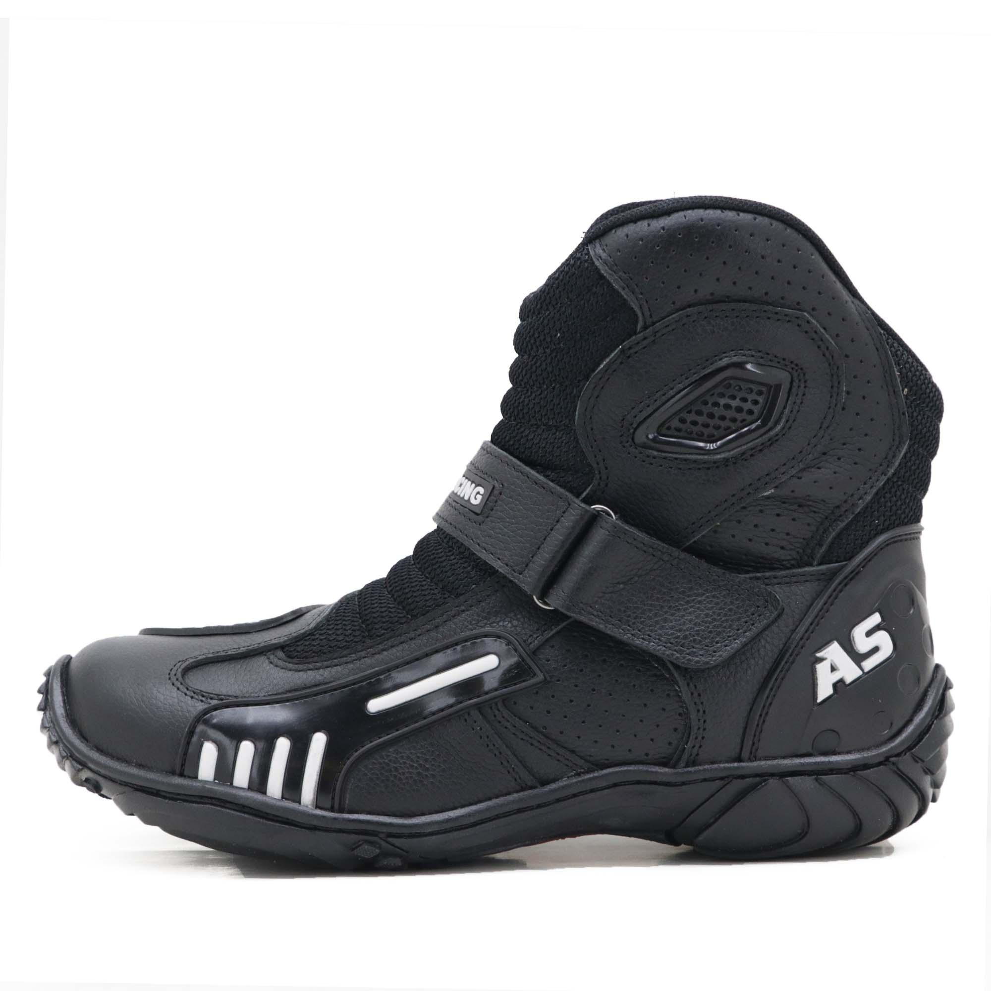 Bota motociclista AS-RACING respirável em couro legítimo na cor preta 406