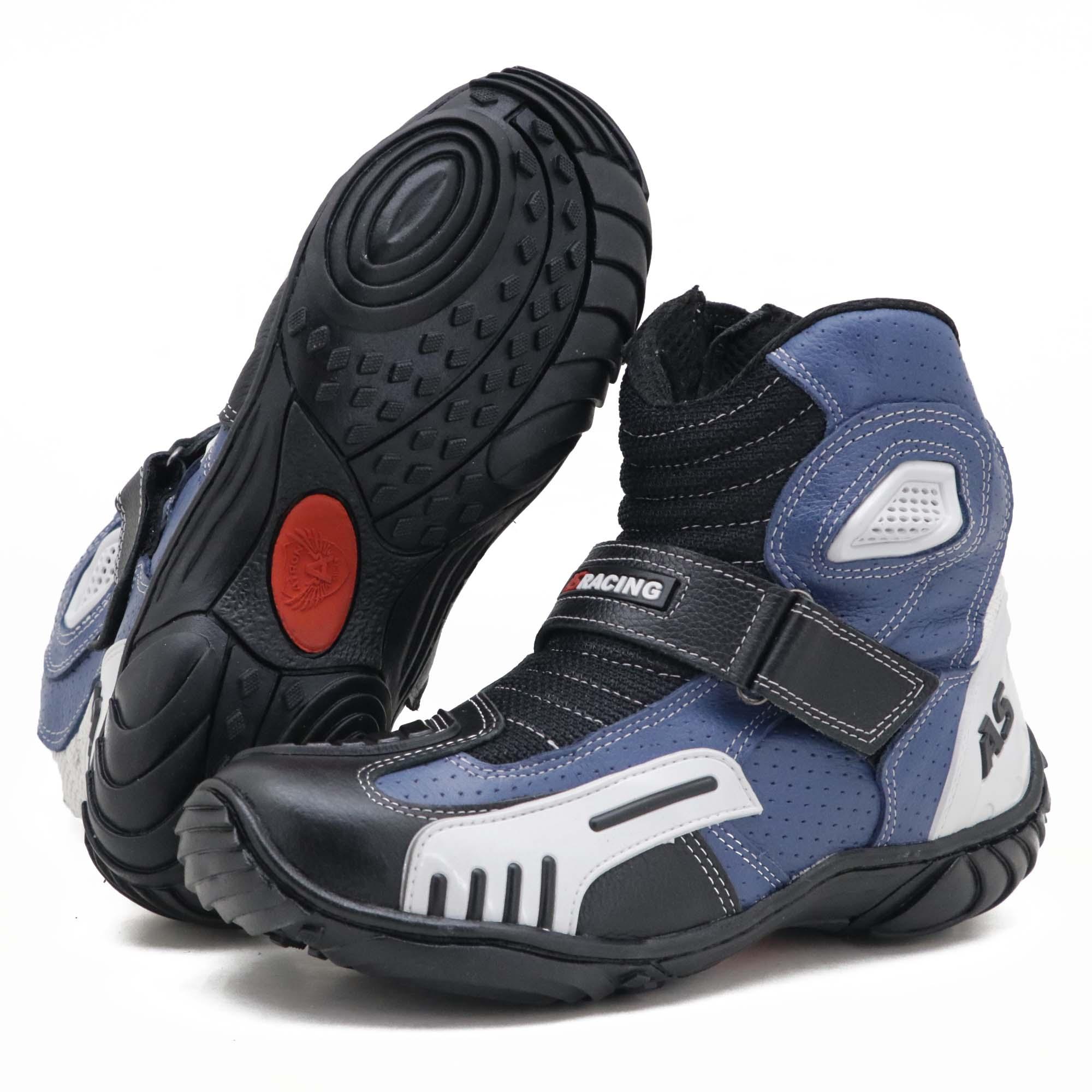 Bota motociclista AS-RACING respirável em couro legítimo nas cores preto branco e azul 406