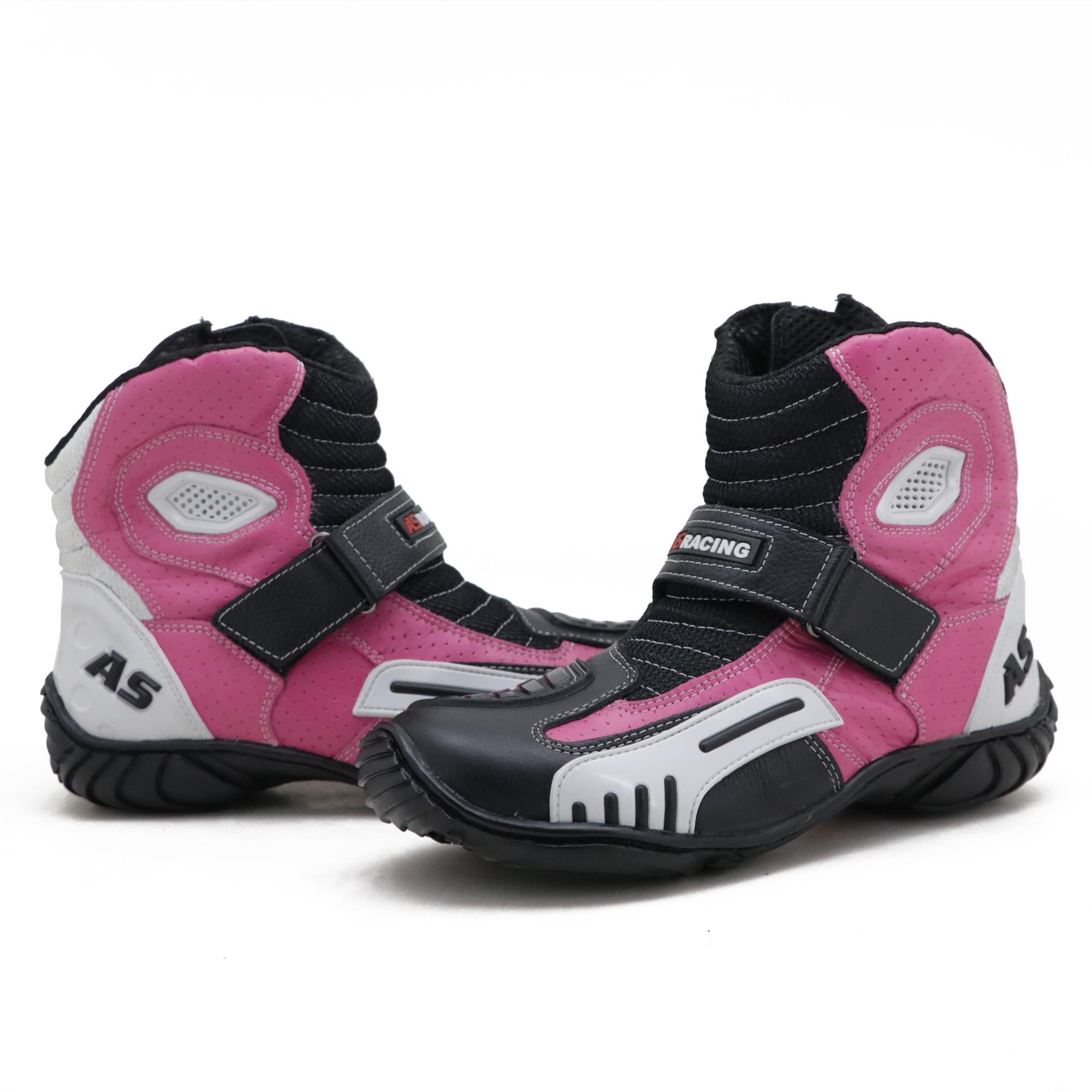 Bota motociclista AS-RACING respirável em couro legítimo nas cores preto branco e pink 406