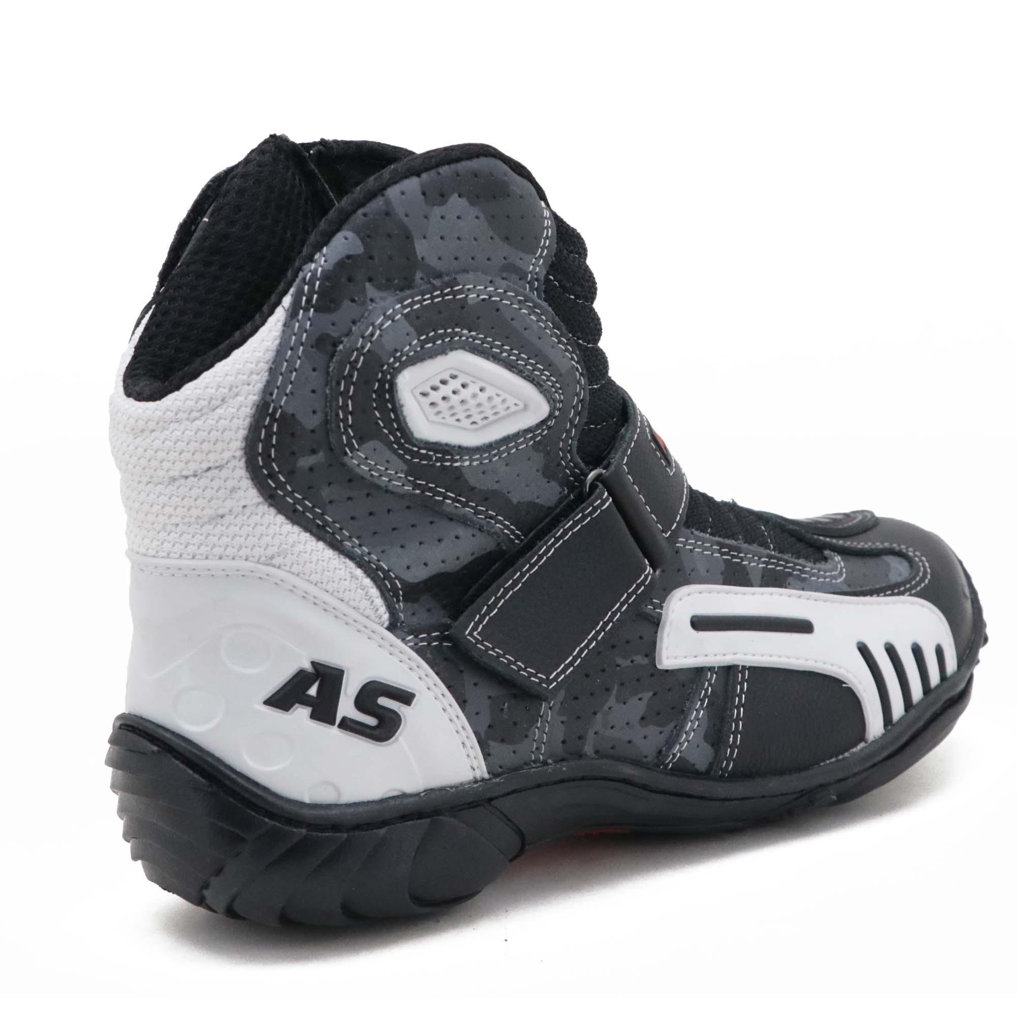 """Bota motociclista AS-RACING """"vented boots"""" em couro legítimo nas cores preto branco e camuflado 406"""
