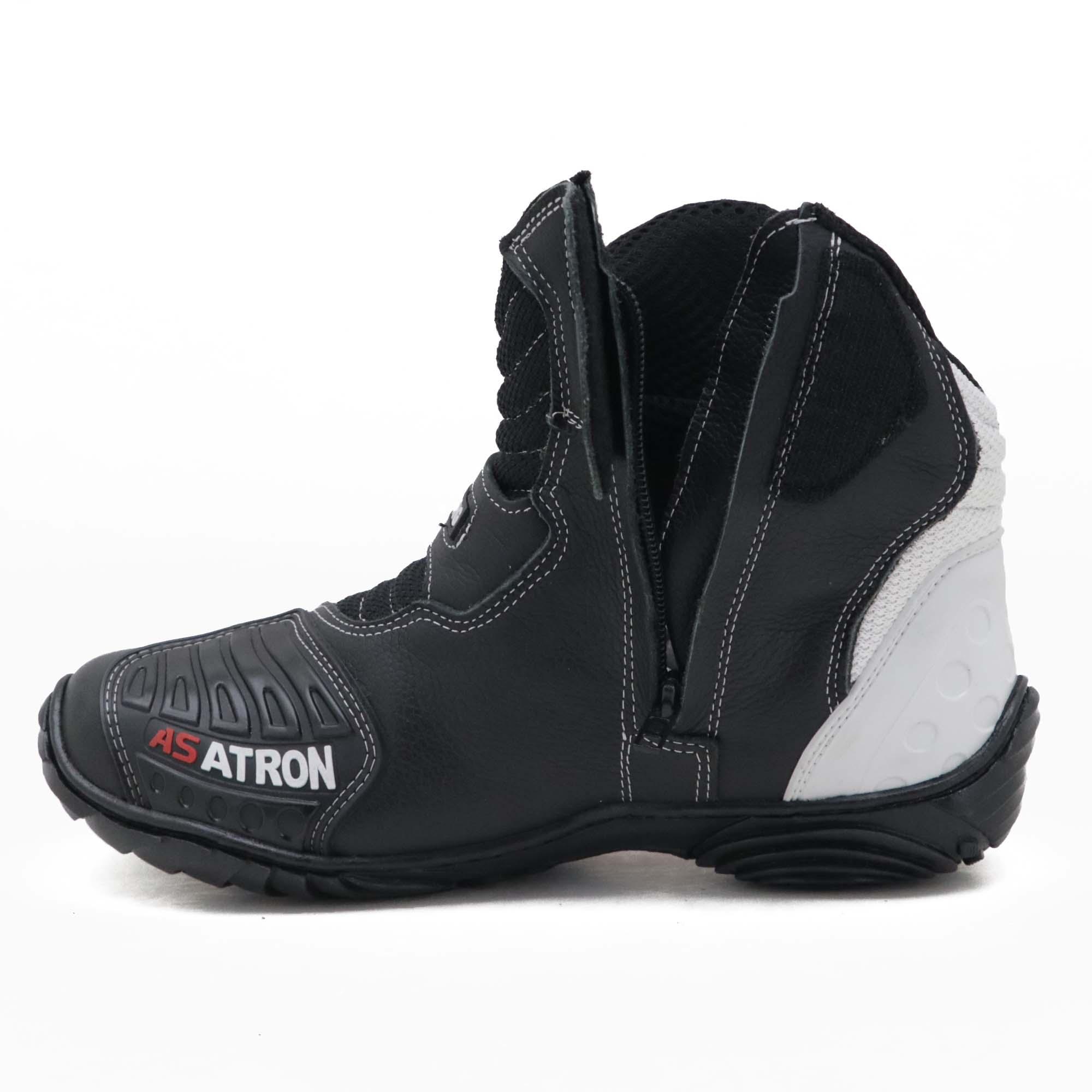 """Bota motociclista AS-RACING """"vented boots"""" em couro legítimo nas cores preto branco laranja 406"""
