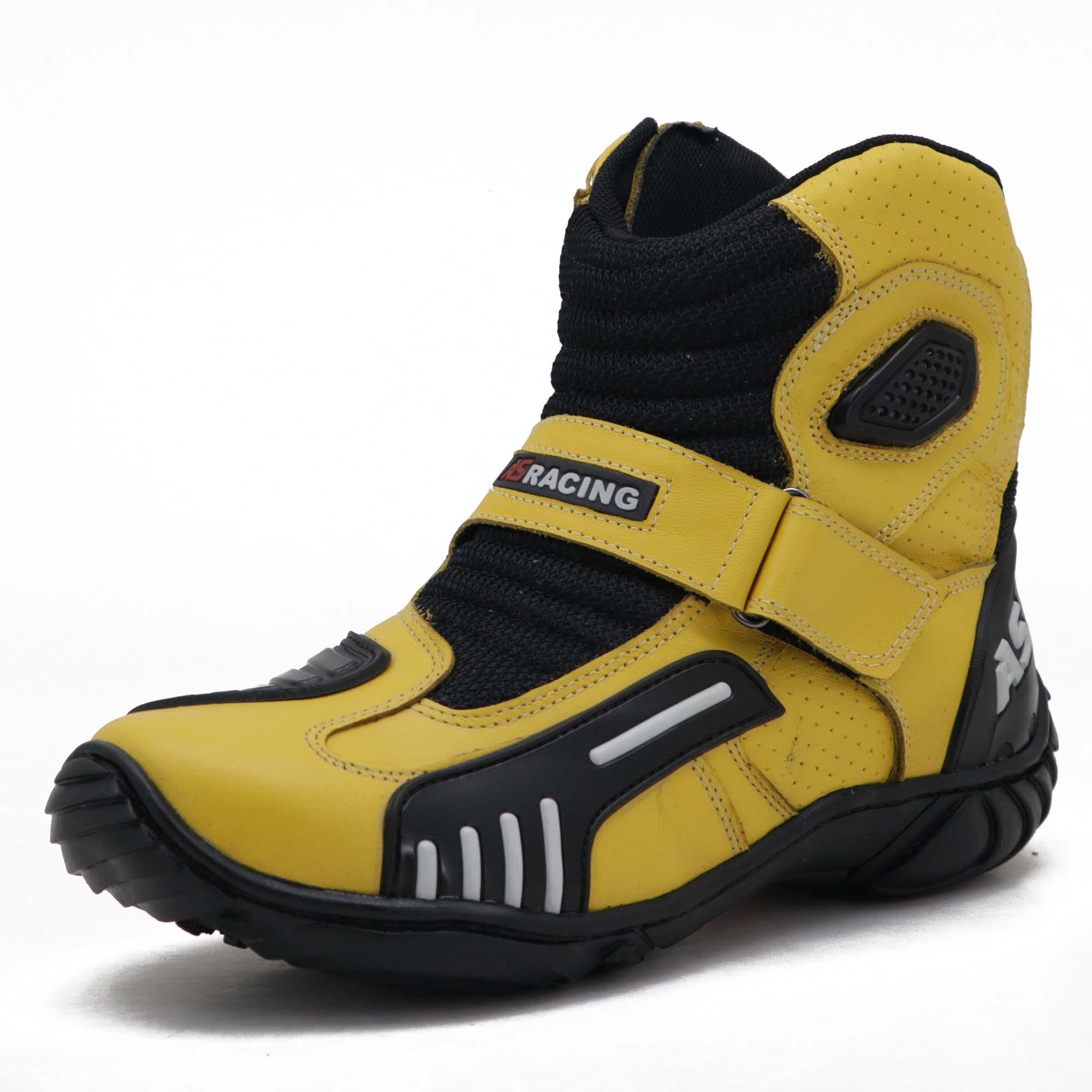 Bota motociclista AS-RACING Vented em couro legítimo na cor Amarelo