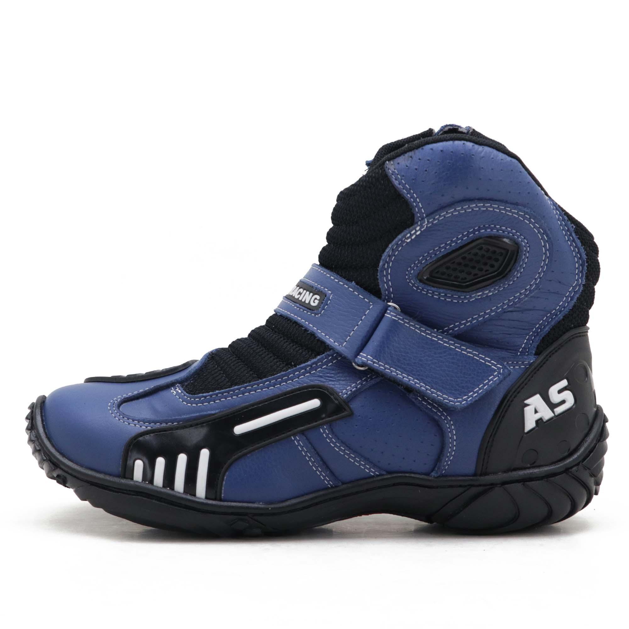 Bota motociclista AS-RACING Vented em couro legítimo na cor Azul
