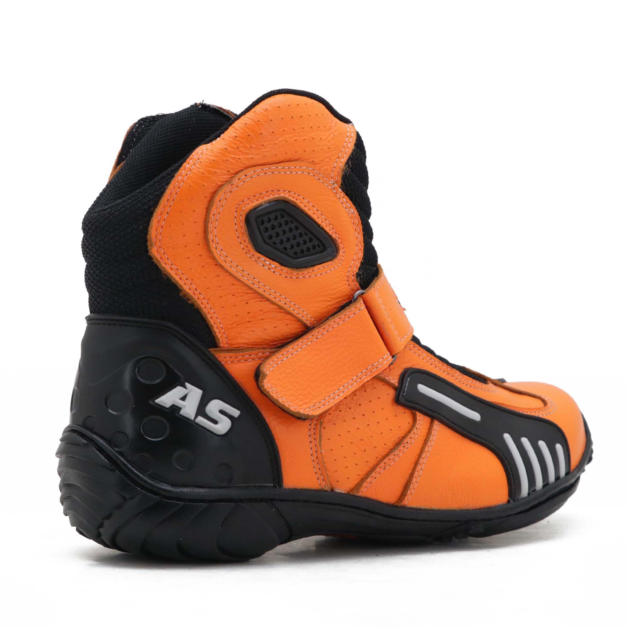 Bota motociclista AS-RACING Vented em couro legítimo na cor laranja