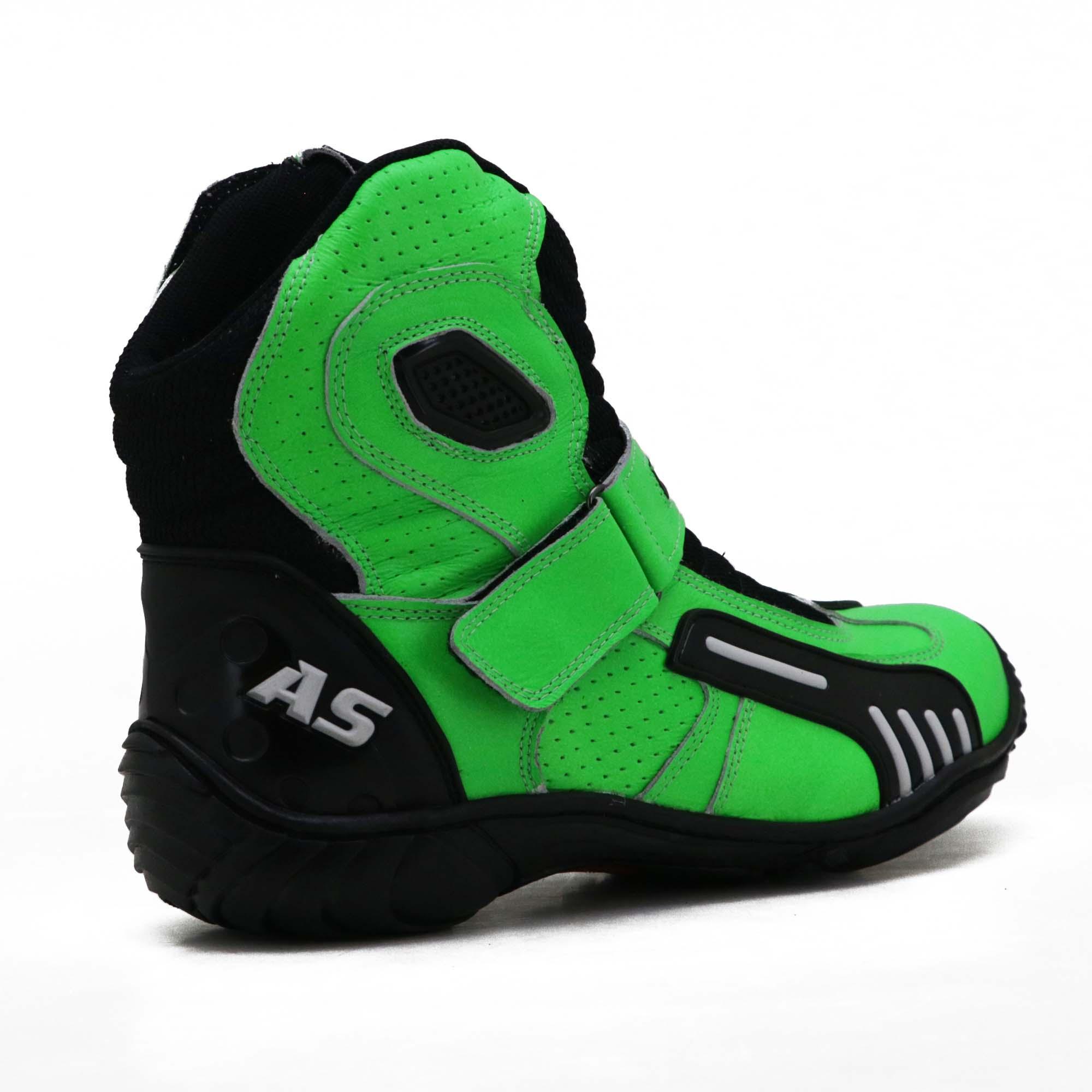 Bota motociclista AS-RACING Vented em couro legítimo na cor verde