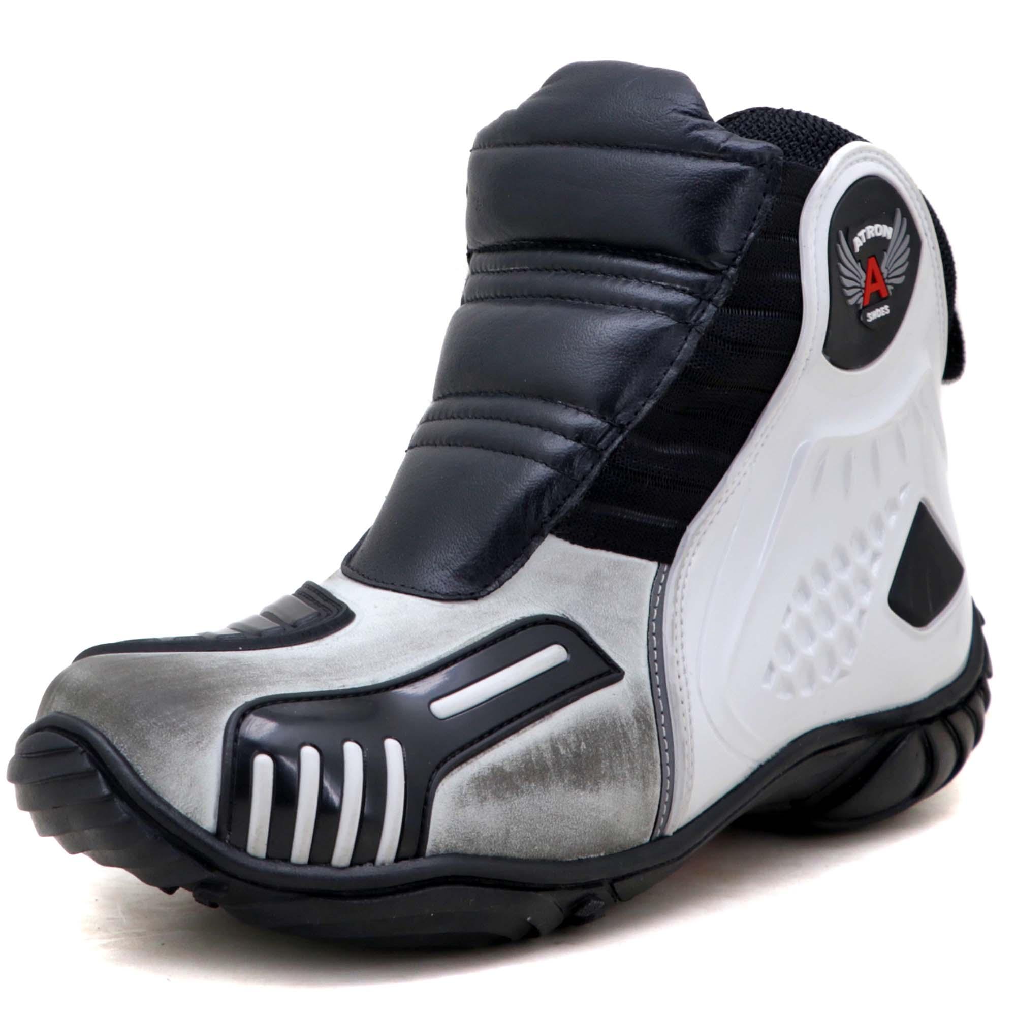 Bota motociclista Atron Shoes AS-HIGHWAY em couro legítimo semi-impermeável emborrachada Com elástico na cor ASfalto 408