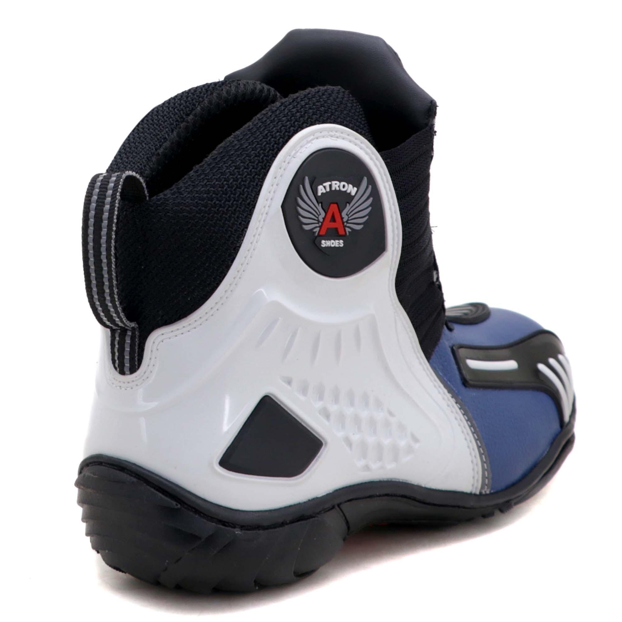 Bota motociclista Atron Shoes AS-HIGHWAY em couro legítimo semi-impermeável emborrachada Com elástico na cor Azul 408
