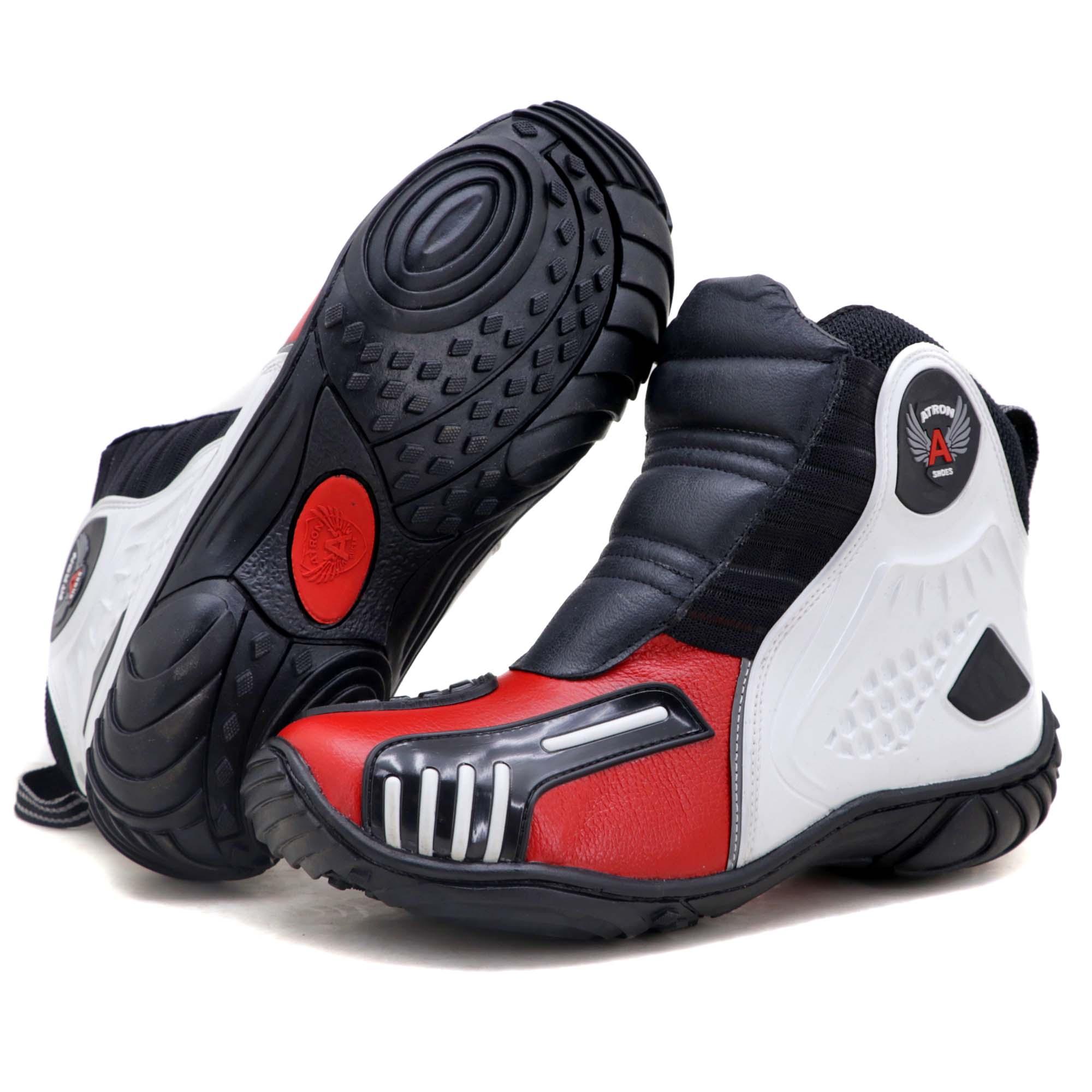 Bota motociclista Atron Shoes AS-HIGHWAY em couro legítimo semi-impermeável emborrachada Com elástico na cor Vermelho 408
